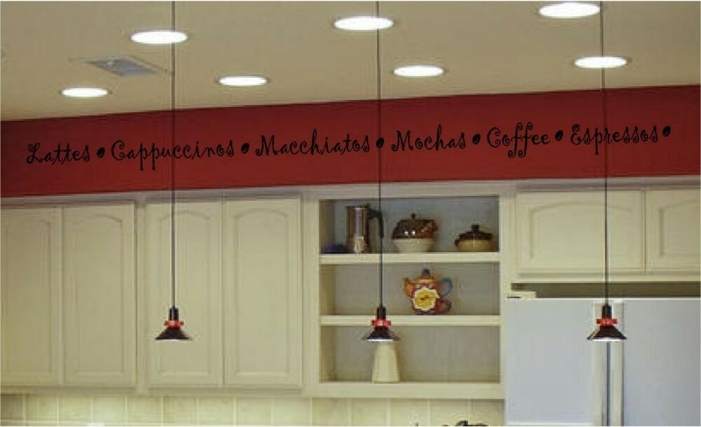 Coffee Kitchen Wall Stickers Vinyl Decal Border Words