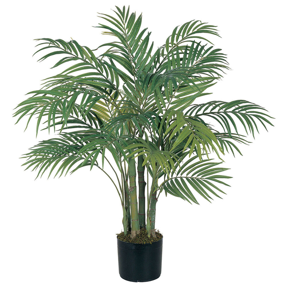 3 ft silk artificial areca palm tree tropical fake plant ebay. Black Bedroom Furniture Sets. Home Design Ideas