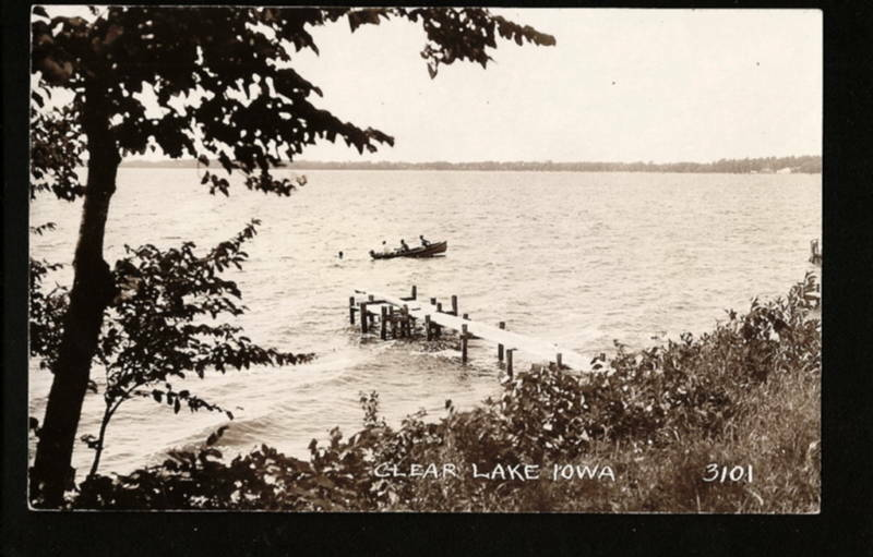 Clear lake iowa ia 40s rppc friend fishing look behind ebay for Clear lake iowa fishing