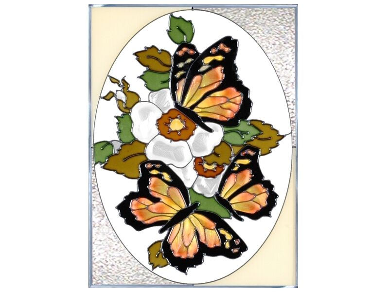 10x14 monarch butterfly floral stained art glass for Butterfly stained glass craft