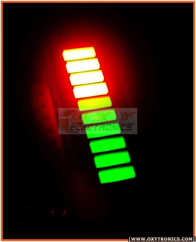 2 pcs x 10-Segments LED BARGRAPH Bi-Color Fixed Green Red ...