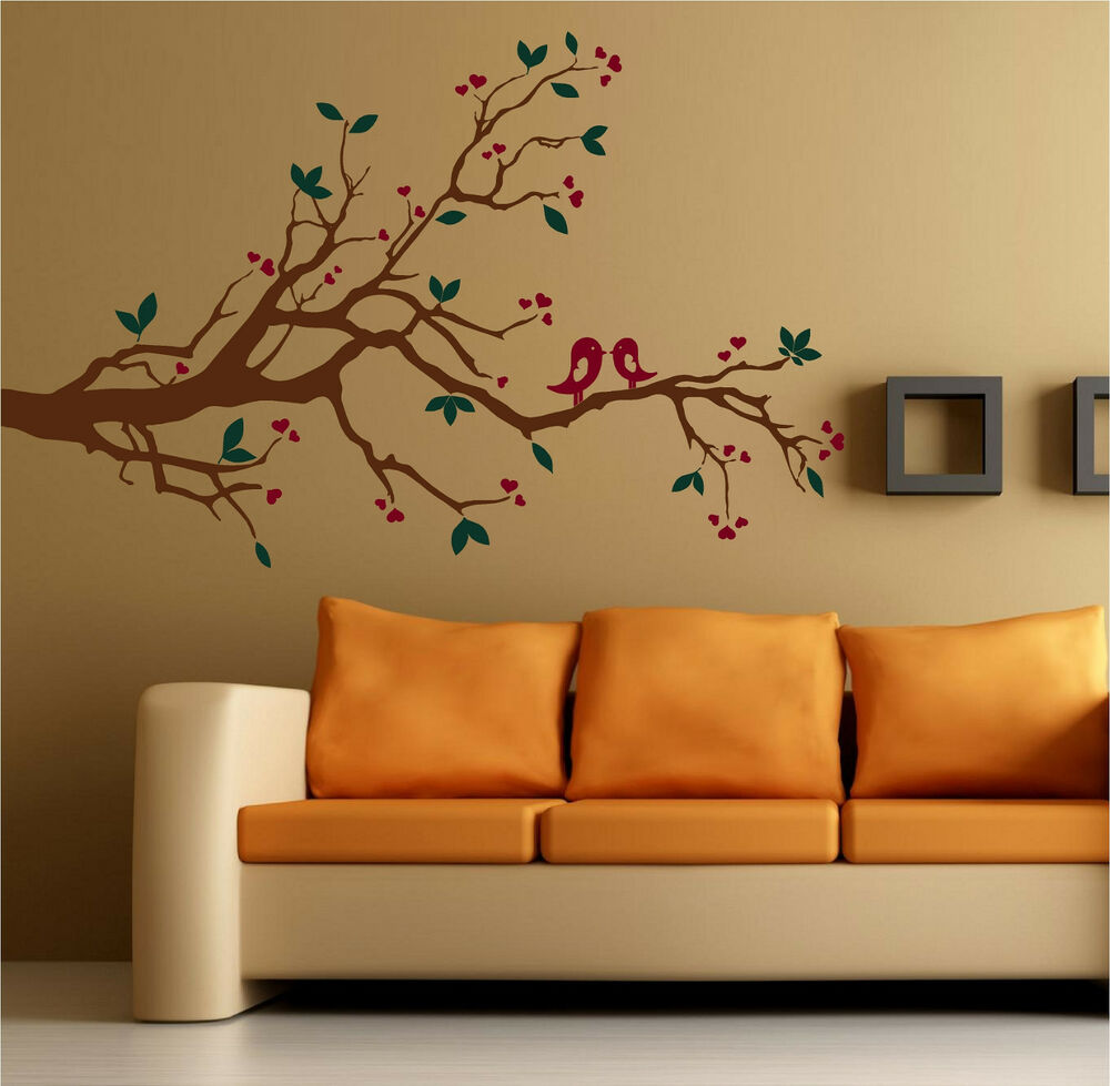 Kissing Love Birds On A Branch Vinyl Wall Decal Decor Ebay