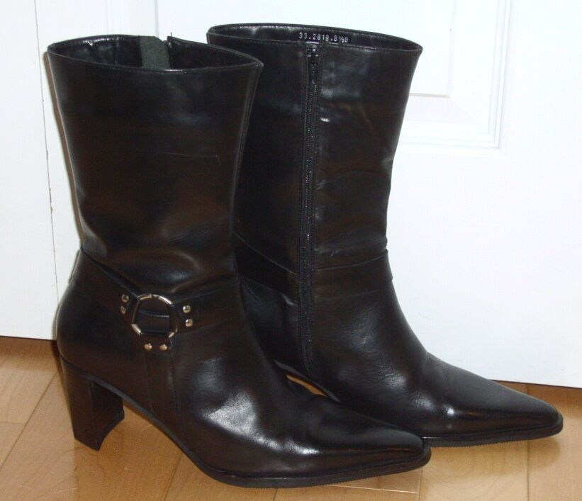 spiegel womens black leather western style fashion boots 8