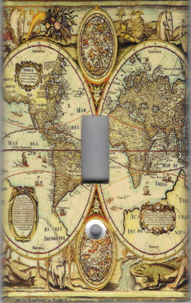 old world map map home wall decor single light switch