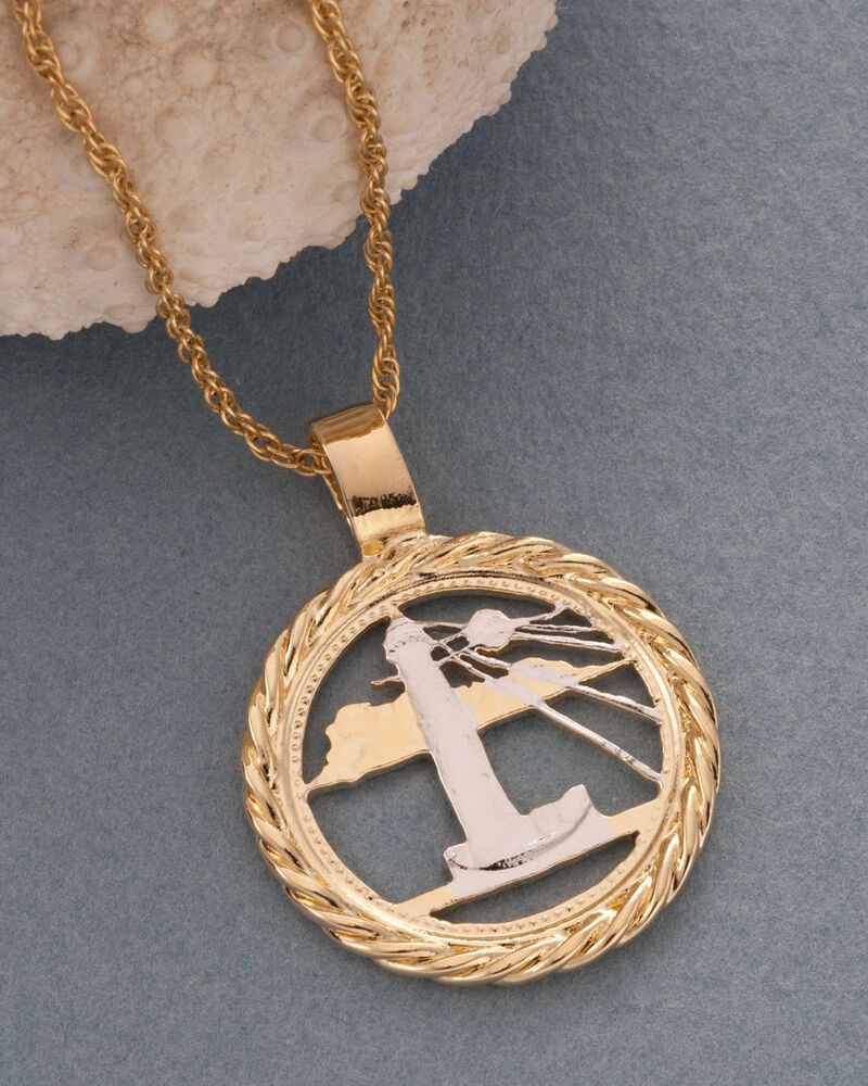 lighthouse pendant necklace quot barbados coin cut 7 8