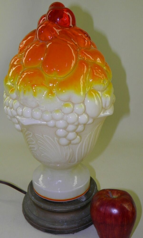 Antique Cased Glass Umberina Fruit Basket Lamp Ebay