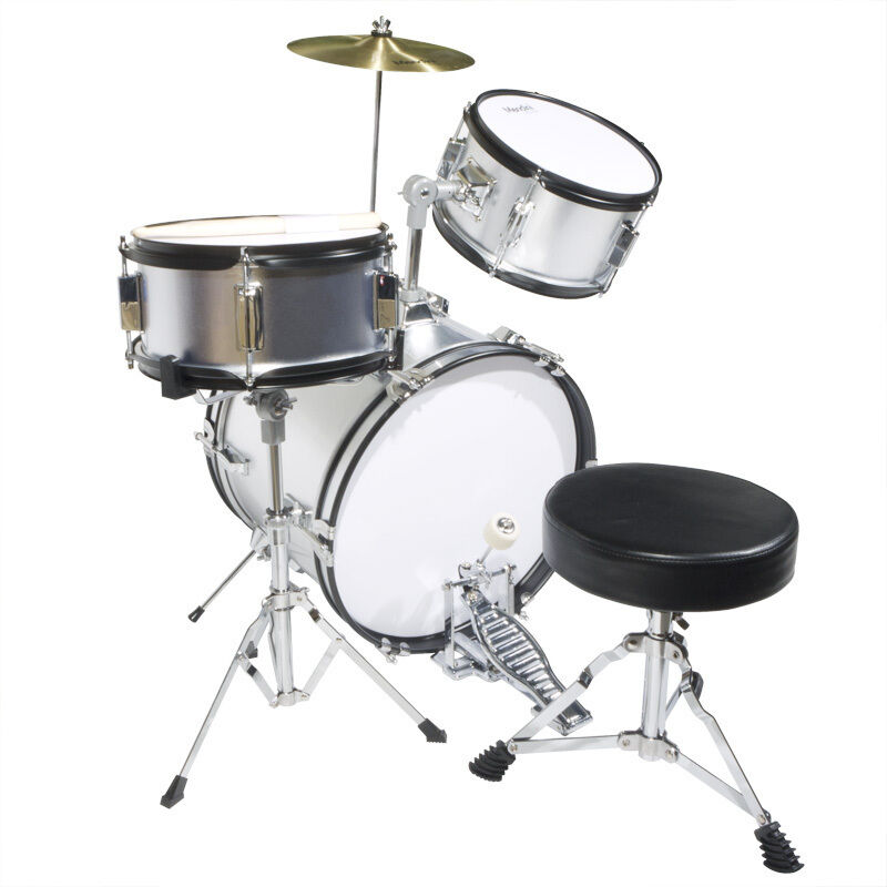 Mendini 16 Quot Junior Kids Child Jr Drum Set Kit Silver Ebay