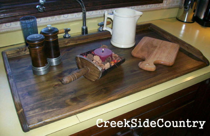 PRIMITIVE Bread Board LG Kitchen Sink Cover STAINED