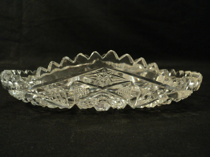 beautiful abp cut glass oval celery tray    serving dish