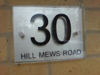 HOUSE NUMBER  DOOR SIGN/PLAQUE MODERN Aluminium and Glass Effect Acrylic