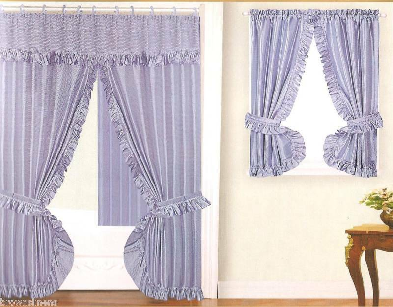 NEW DOUBLE SWAG FABRIC SHOWER &WINDOW CURTAIN - BLUE | eBay