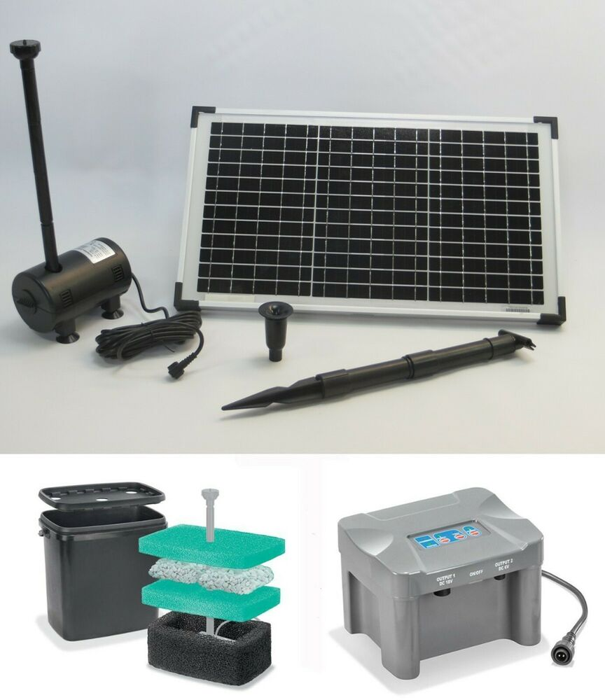 20 w solar tauchpumpe solarpumpe akku bachlaufpumpe batterie teichpumpe filter ebay. Black Bedroom Furniture Sets. Home Design Ideas
