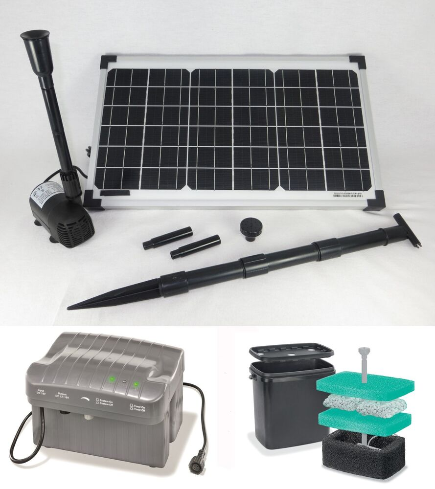 20w solarpumpe teichpumpe filter akku wasserspeier tauchpumpe gartenteichpumpe ebay. Black Bedroom Furniture Sets. Home Design Ideas