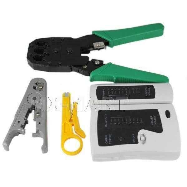 rj45 rj11 cat5 network tool kit cable tester crimp lan ebay. Black Bedroom Furniture Sets. Home Design Ideas