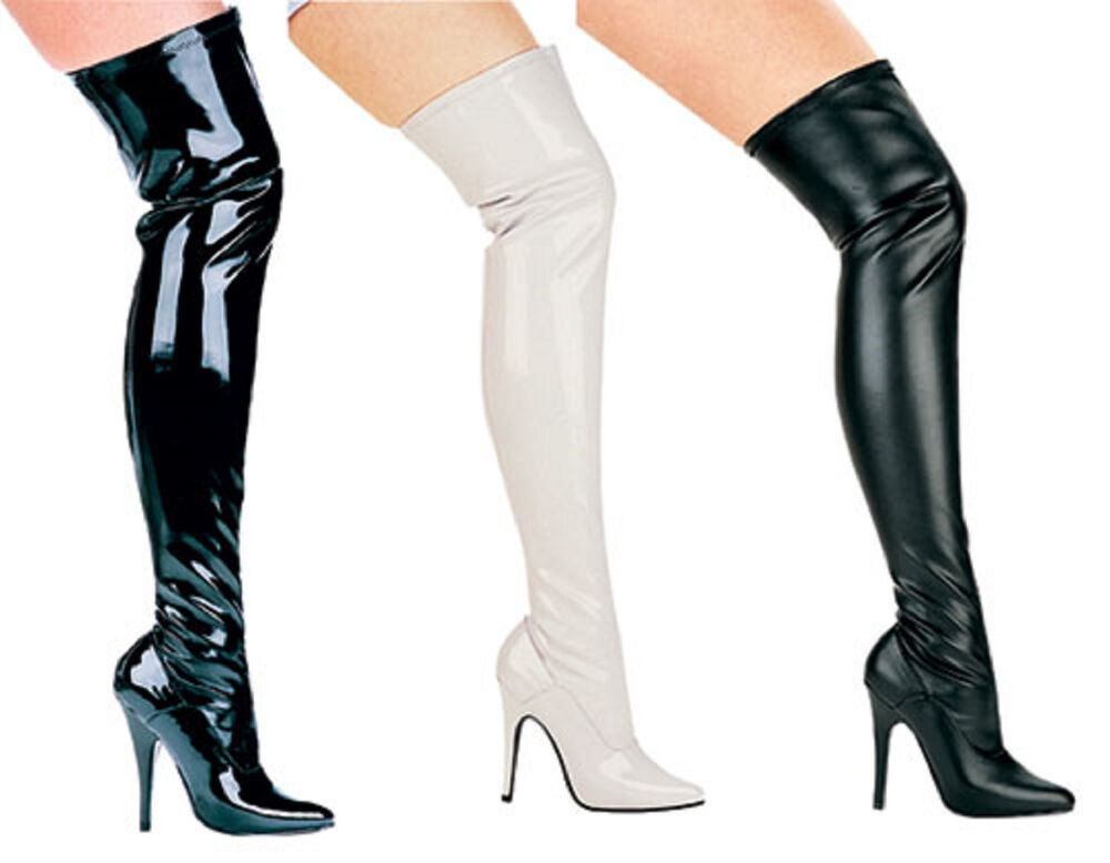 "Vinyl Boots Thigh Hi 5"" Heel Stretch Inner Zipper Sizes 5-14 ..."