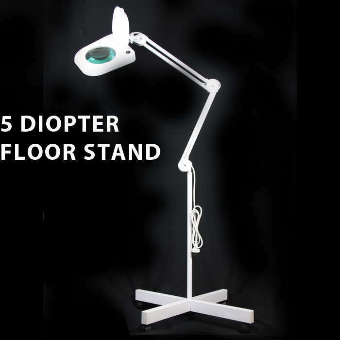 Wheeled Floor Stand Magnifier Lamp 5 Diopter Lens White Ebay