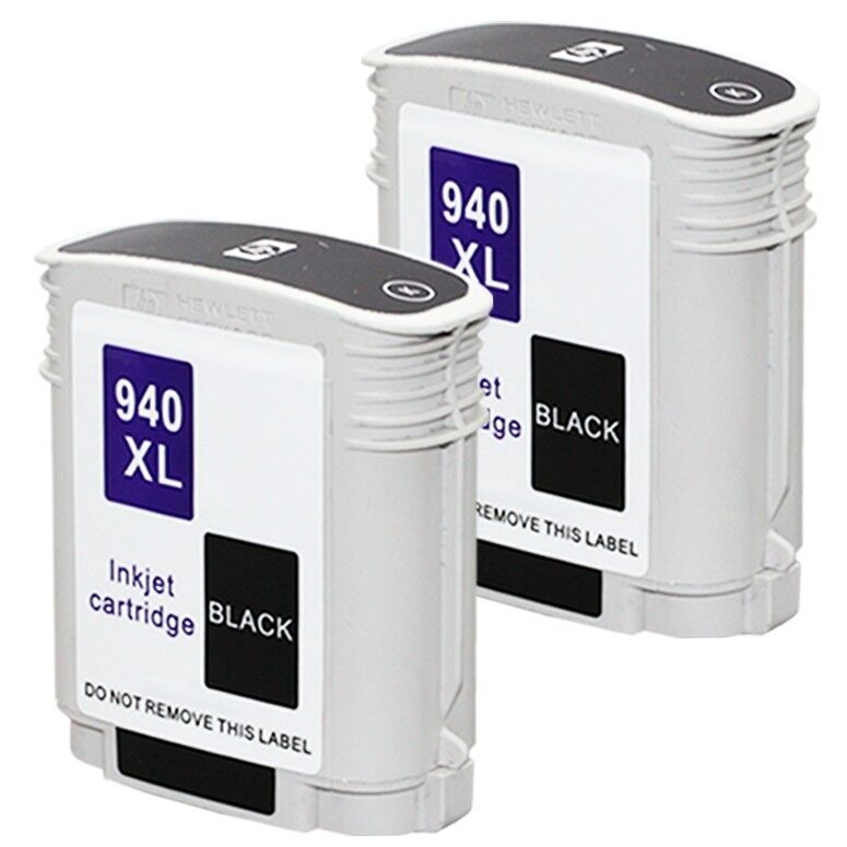 2pks hp 940 xl black ink cartridge for officejet pro a910a 8500a e all in one ebay. Black Bedroom Furniture Sets. Home Design Ideas