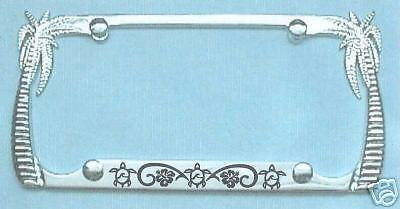 Palm Tree License Plate Frame Turtles And Hibiscus B Ebay