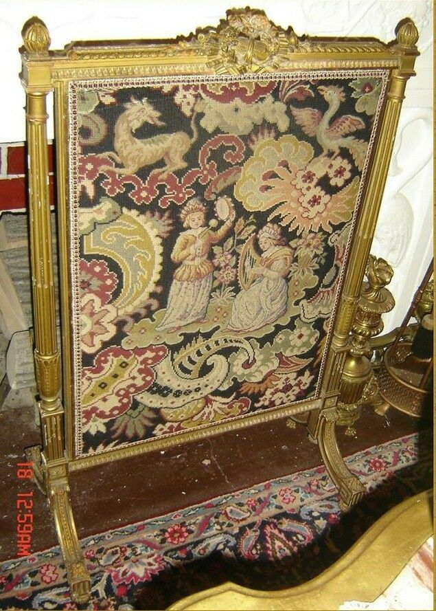 antique french needlepoint petit point fireplace screen ebay. Black Bedroom Furniture Sets. Home Design Ideas