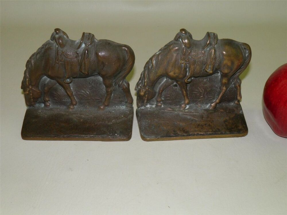 Antique western horse solid bronze bookends ebay - Antique brass bookends ...