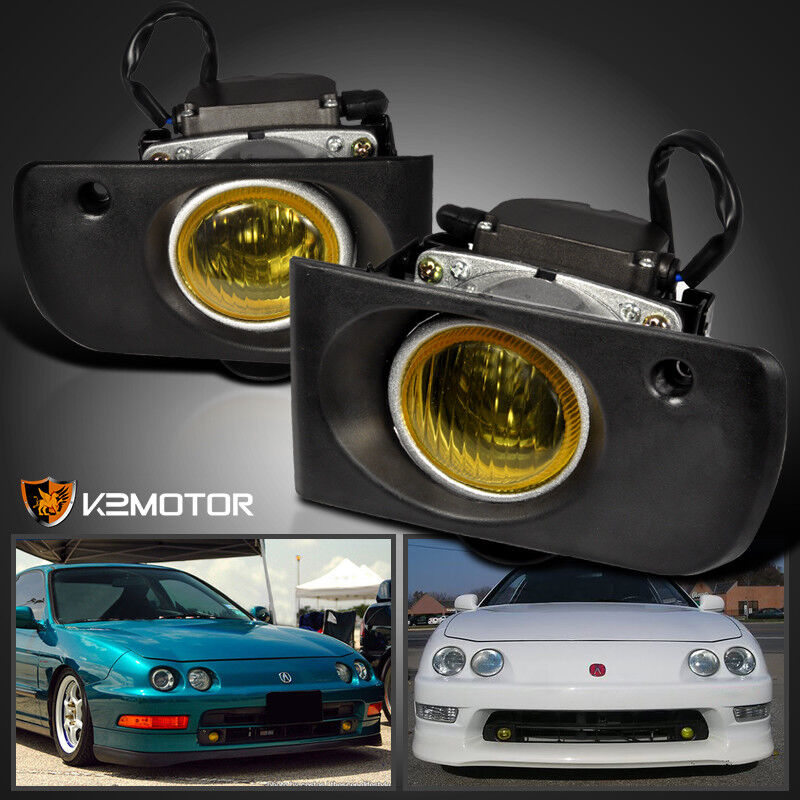 1994-1997 Acura Integra Yellow Bumper Fog Lights+Switch