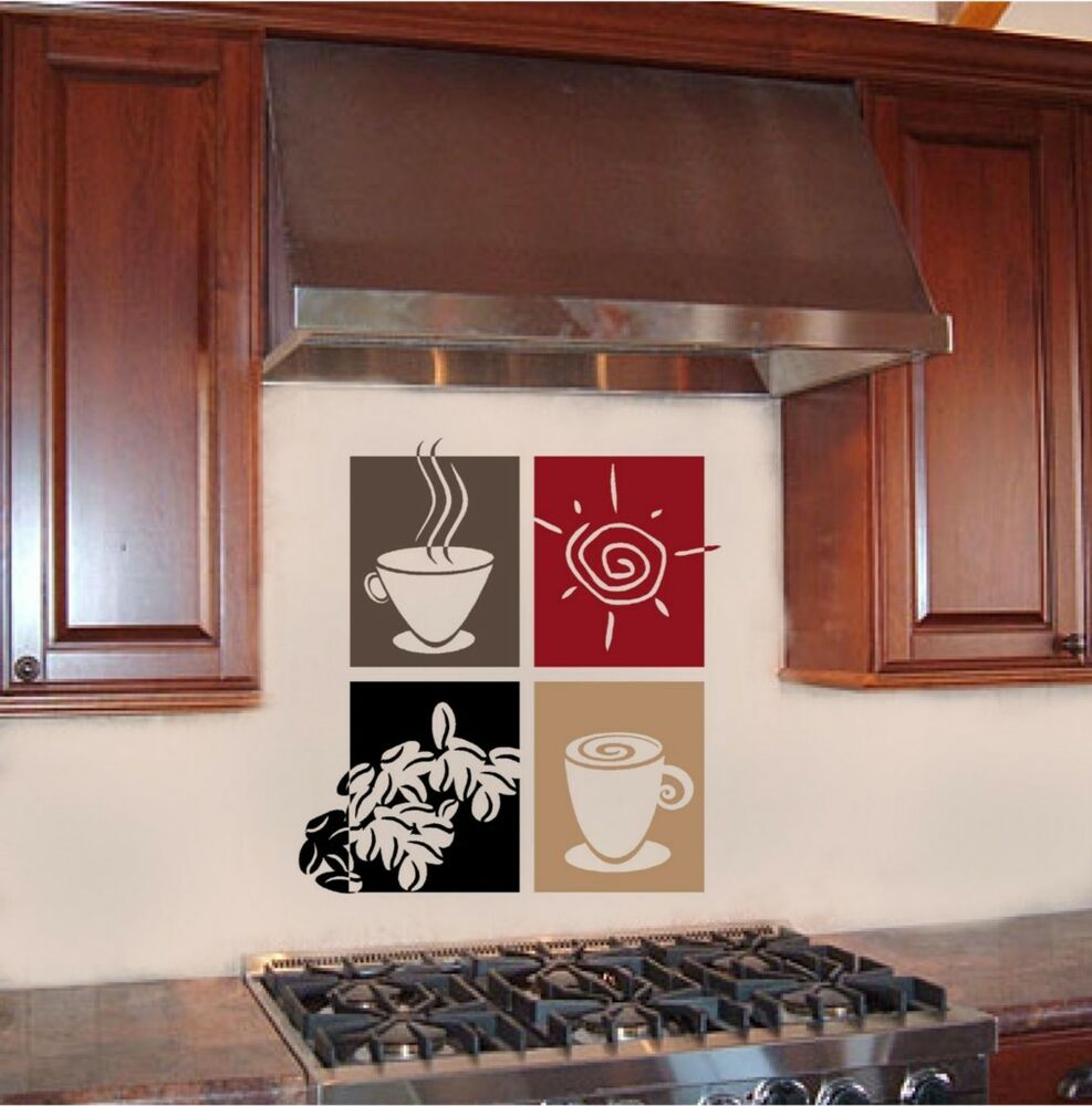 Coffee paneling vinyl wall decal word sticker border ebay for Mural coffee
