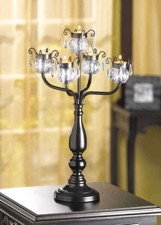 Black crystal beaded chandelier candelabra candle holder