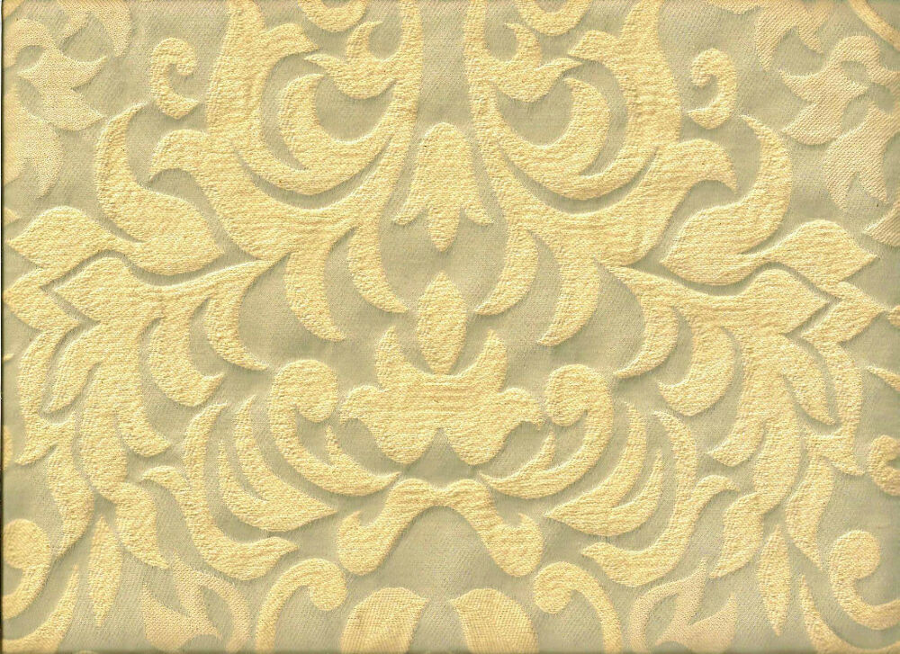 Upholstery Fabric: Vintage Style Pewter Gray And Cream Raised Damask