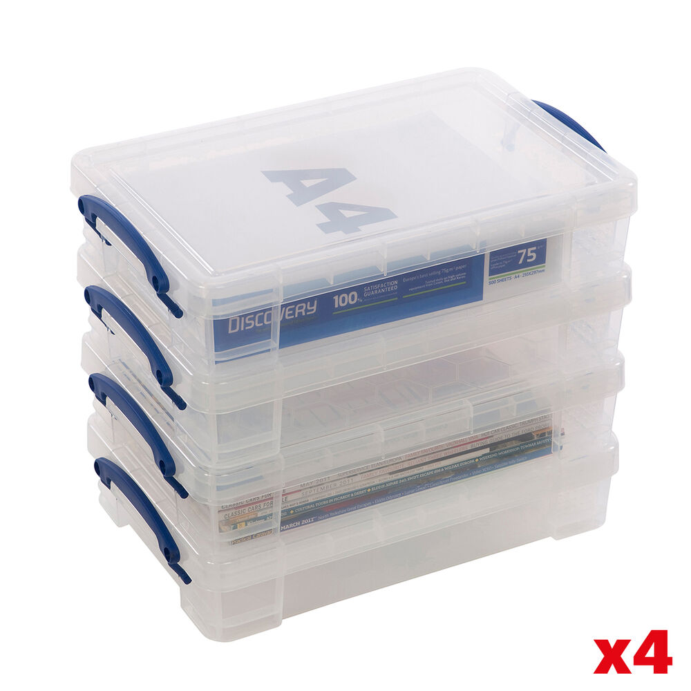 Acrylic Box 4 X 4 : Really useful litre storage boxes clear plastic with