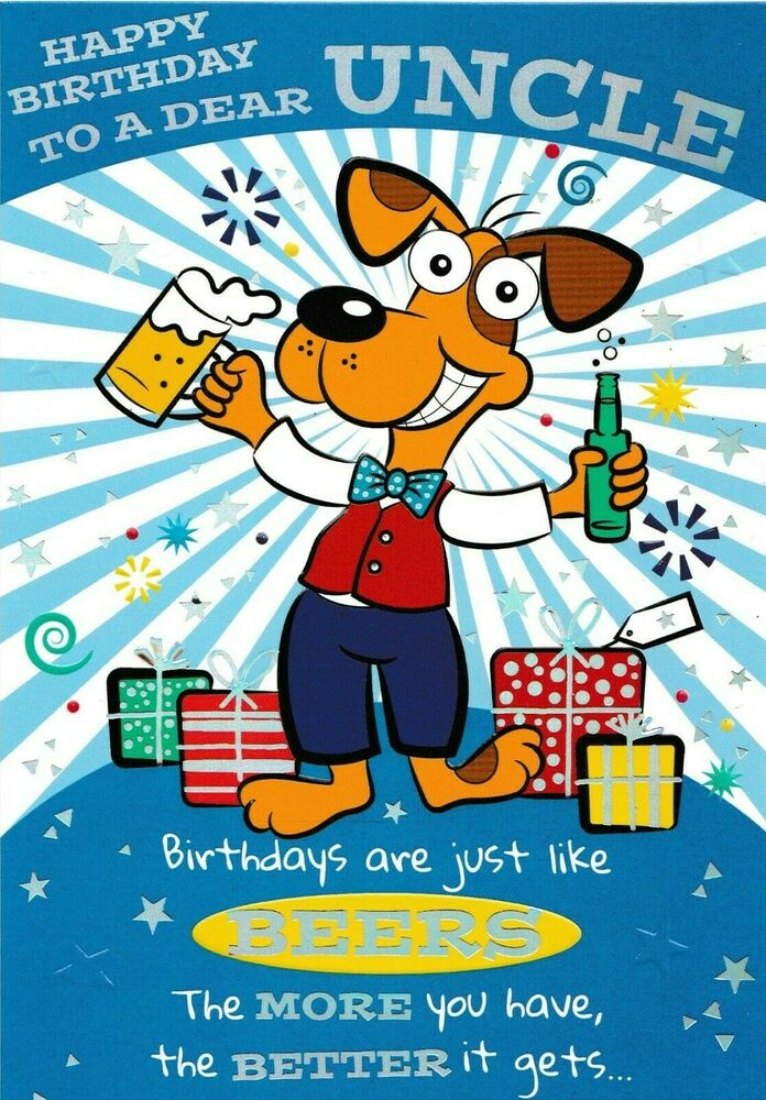 Funny humorous uncle happy birthday card 3 x cards to choose from