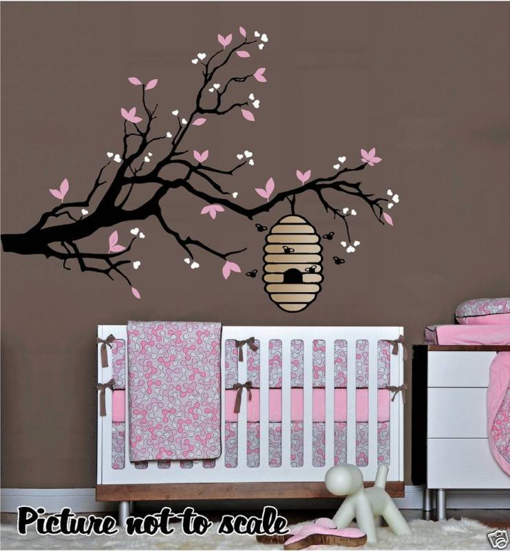 Bee Hive On A Tree Branch Nursery Wall Art Children S Or
