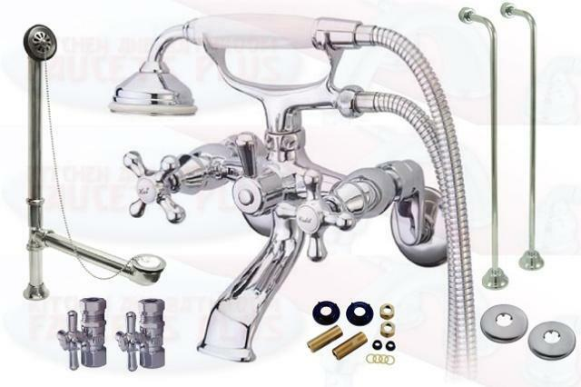 Chrome Clawfoot Tub Faucet Drain Supplies Stops Kit New