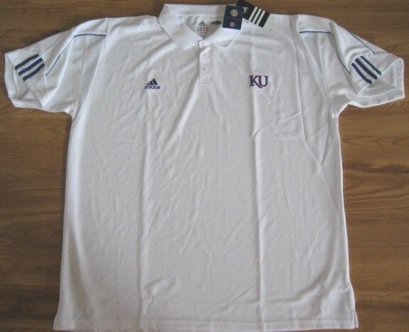 adidas kansas jayhawks climacool coaches polo shirt 3xl xxxl white ebay. Black Bedroom Furniture Sets. Home Design Ideas