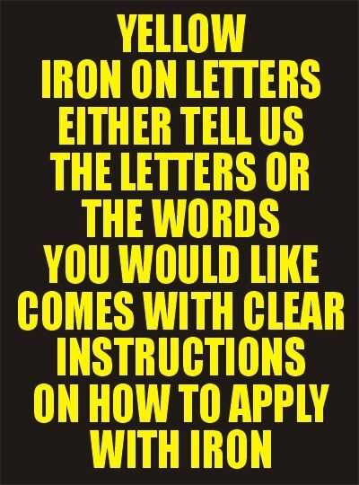 Inch Yellow Iron On Letters
