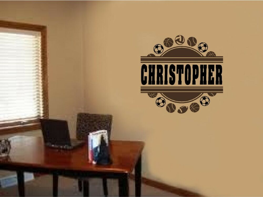 Personalized Custom Name Sports Vinyl Wall Decal Sticker