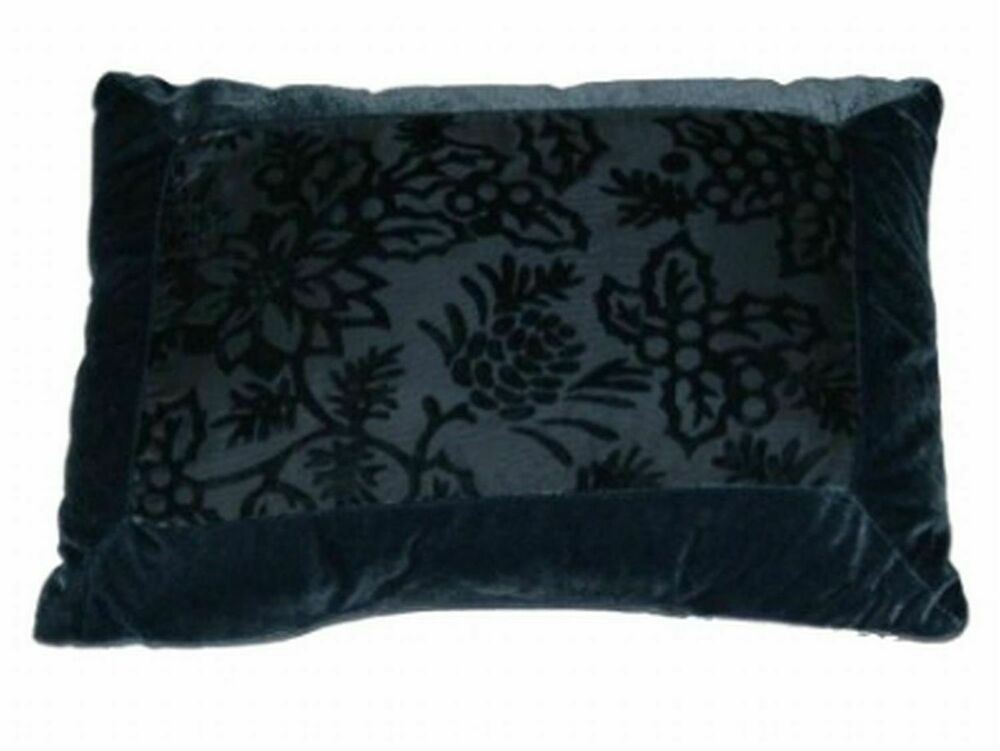 Soft Impressions Blue Velour Throw Pillow Subtle Floral Accent Cushion eBay