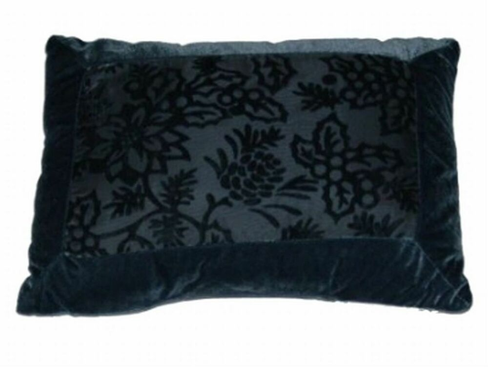 Soft Down Throw Pillows : Soft Impressions Blue Velour Throw Pillow Subtle Floral Accent Cushion eBay