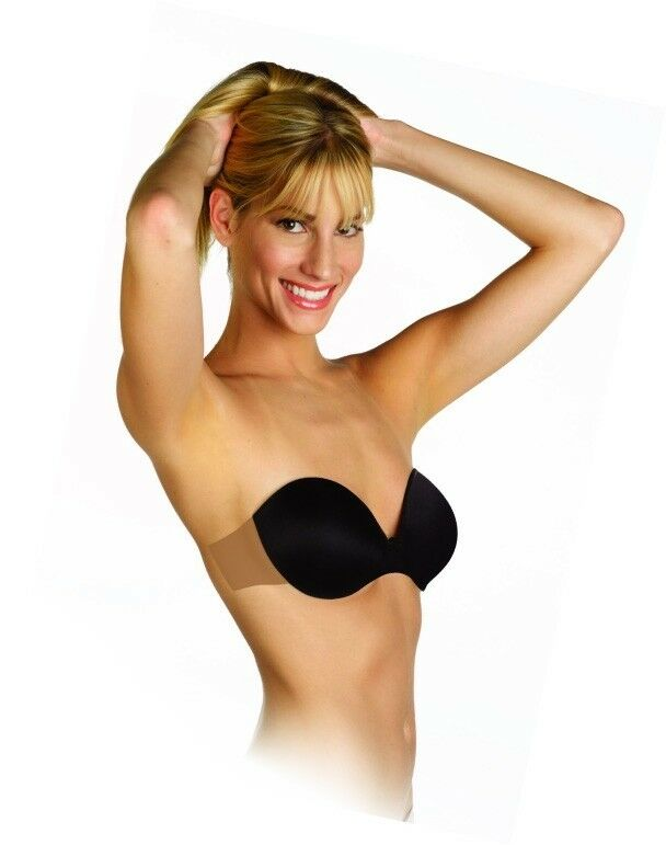 Totally backless and strapless underwire push up bra with adhesive