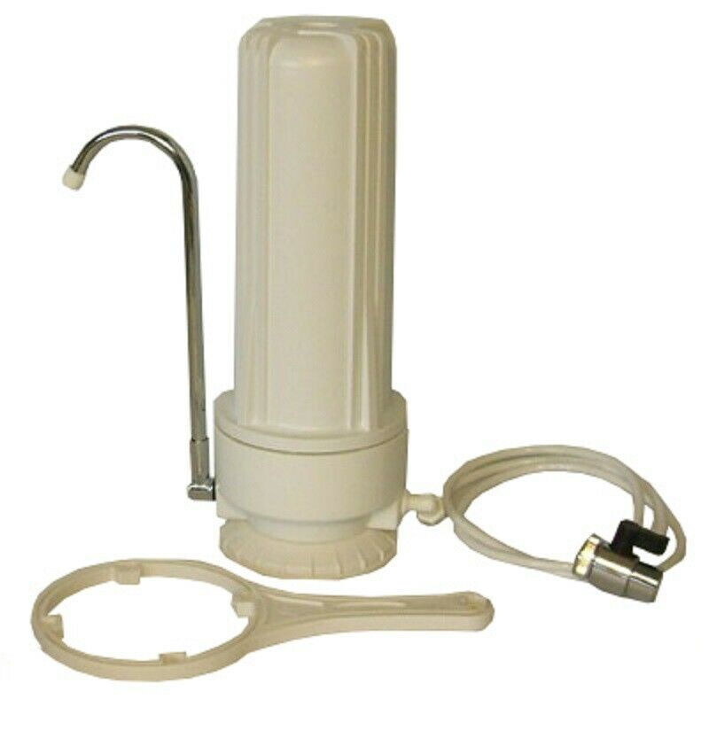 Counter Top One Stage Simple Water Filter Easy Unit System White Faucet Connect Ebay
