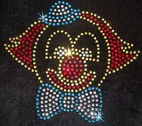 CLOWN MOTIF iron-on HOTFIX rhinestone CRYSTAL BEAD BLING TSHIRT TRANSFER PATCH