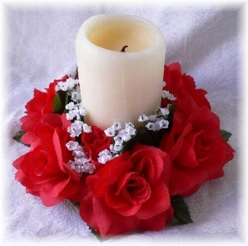Candle Flower Centerpieces Wedding: 6 RED Candle Rings Silk Roses Wedding Flower Centerpiece