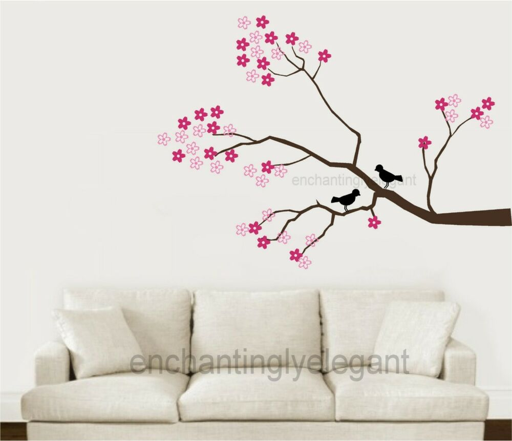 Tree branch cherry blossoms birds vinyl wall decor decal for Cherry blossom tree wall mural