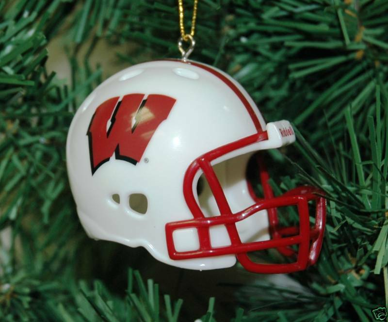 Helmet Ornament Christmas Football Badger | Wisconsin eBay