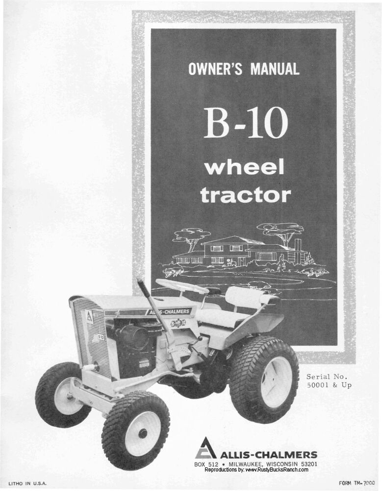 Tractor Manual Thickness : Allis chalmers model b wheel tractor operators