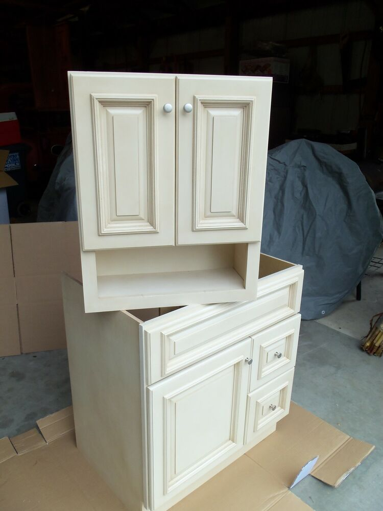 Cream Maple Bathroom Vanity Cabinet 30x21 And Wall Cabinet 21x26 Ebay