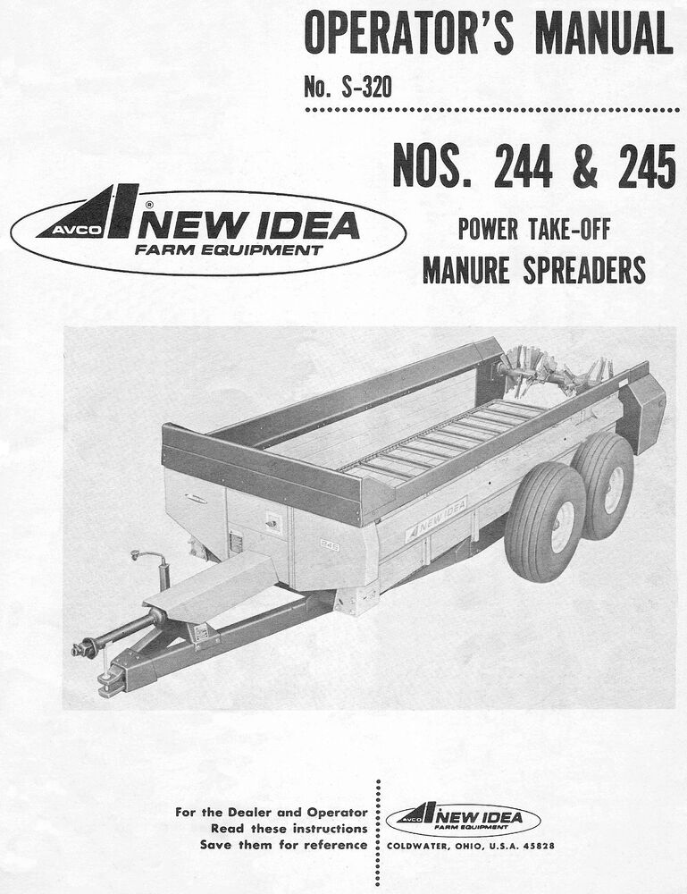 New Idea Spreader Parts : New idea and power take off pto manure spreader