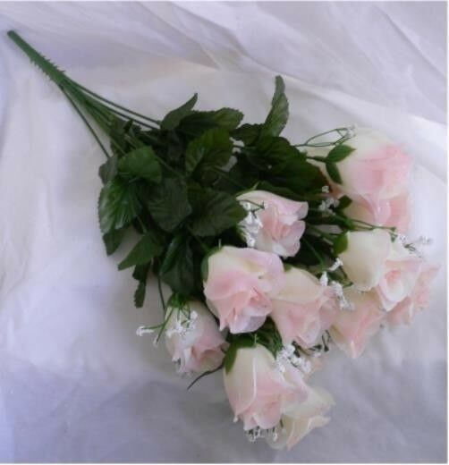How Long Should Bridal Bouquet Stems Be : Long stem roses cream pink silk buds wedding bouquet