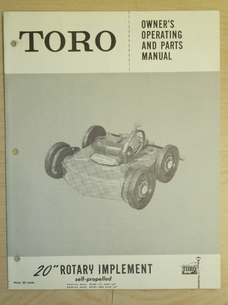 Toro 20 Quot Rotary Owners Operating And Parts Manual