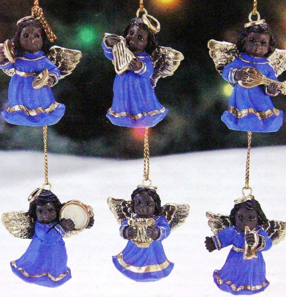 Black african american musical angels set of 6 christmas for American christmas decorations