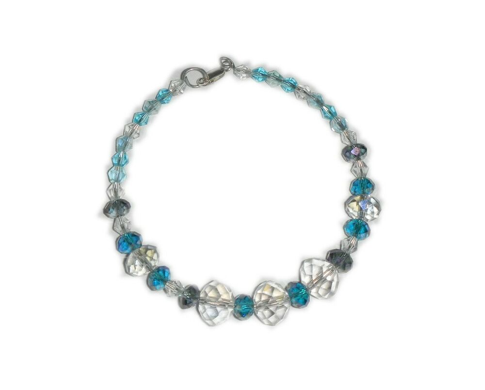 round white and blue swarovski crystal beads bracelet ebay. Black Bedroom Furniture Sets. Home Design Ideas